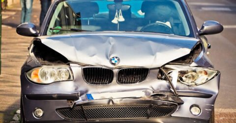 Totally wrecked BMW car